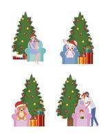 Satz Weihnachtsbäume und Spielzeugfeier vektor