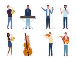 Gruppe junger Leute, die Musikinstrumente spielen vektor