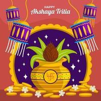 glückliche akshaya tritiya mit feierelement vektor