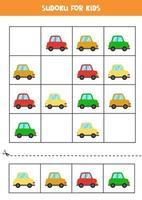 Sudoku-Spiel für Kinder mit bunten Cartoon-Autos vektor