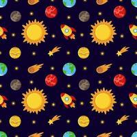 nahtloses Muster mit niedlichen Cartoonplaneten und Sonne. vektor