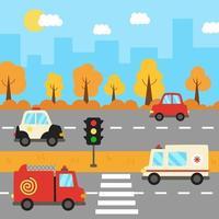 stadslandskap med tecknad transport på vägen. vektor
