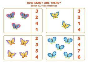 Zählspiel mit Schmetterlingen. Mathe-Arbeitsblatt. vektor