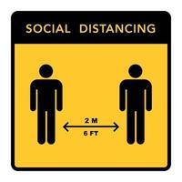 soziales distanzierendes Banner. halte den Abstand vektor