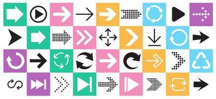 Pfeilzeichen-Symbolsatz. Sammlung von Pfeilen für Webdesign, mobile Apps, Benutzeroberfläche. vektor