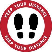 Fußabdruckwarnung. Abstand halten vektor