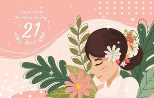 Kartini Tag Hintergrund flache Stilvorlage vektor