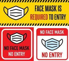 Keine Gesichtsmaske, kein Eintrittsschild gesetzt vektor