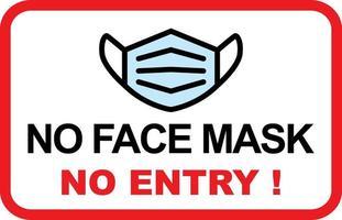 Keine Gesichtsmaske, kein Eintrittsschild vektor
