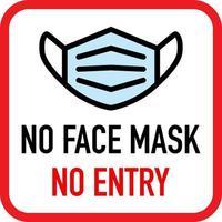 ingen ansiktsmask, inget inträdesskylt vektor
