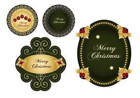 Grön & Guld Jul Etikett Vector Pack