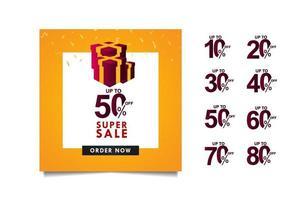 super försäljning upp till 50 rabatt på specialerbjudande, beställ nu vektor mall design illustration