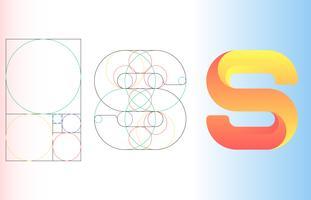 Fibonacci-goldene Verhältnis-Schablonen-Logo-Vektor-Illustration vektor