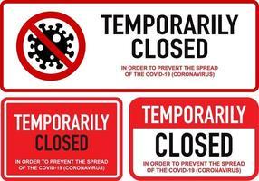 kontoret tillfälligt stängt för koronavirus teckenuppsättning vektor