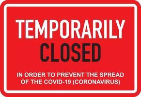 kontor tillfälligt stängt för coronavirus tecken vektor