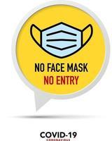 ingen ansiktsmask inget inträdesskylt. vektor