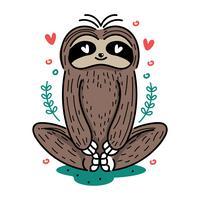 Gullig Yoga Sloth Illustration