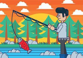 Fly Fisherman vektor illusration