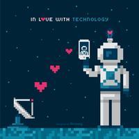 I Kärlek Med Teknologi Vektor Koncept I Pixel Art Design