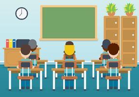 Klassenzimmer mit Kindervektorillustration