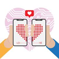 In Love With Technology Vector Illustration