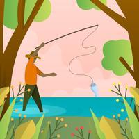 Flat Modern Fly Fisherman Med minimalistisk bakgrund vektor illustration