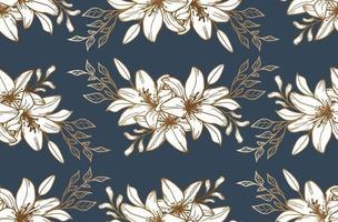 nahtloses Muster mit goldenen Lilien. Blumenhintergrund. Textil. Stoffmuster. vektor