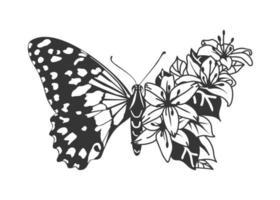 Schmetterling mit Blütenflügel. Blumenschmetterling. Lilienblumen. vektor