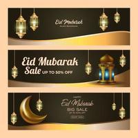 eid mubarak försäljning banner set vektor