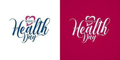 världshälsodag medicinsk kalligrafi vektor