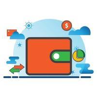 Brieftaschenillustration. flache Vektorikone. kann für, Icon Design Element, UI, Web, mobile App verwenden. vektor