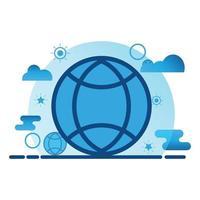 global conection illustration. platt vektor ikon. kan användas för, ikon designelement, ui, webb, mobilapp.