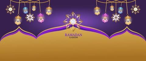 banner guld och diamant ramadan kareem vektor för att önska islamisk festival.
