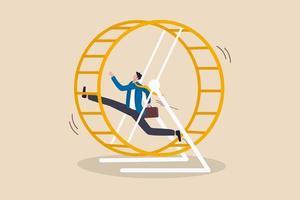 frustrierter Geschäftsmann, der in einem Rattenrennenrad läuft vektor