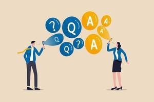 vanliga frågor, vanliga frågor koncept med företagare som blåser bubblor vektor