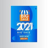 Neujahr 2021 großer Verkauf 40 aus Shop jetzt Etikett Vektor Vorlage Design Illustration
