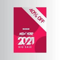 Neujahr 2021 großer Verkauf 40 off label Vektor Vorlage Design Illustration