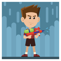 Junge, der Wasserwerfer hält vektor