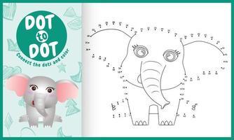 koppla prickarnas spel och målarbok med en söt elefantkaraktärsillustration vektor