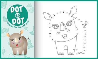 anslut prickarnas spel och målarbok med en söt noshörningskaraktärillustration vektor
