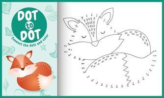 anslut prickarnas spel och målarbok med en söt rävskaraktärillustration vektor