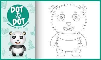 koppla prickarnas spel och målarbok med en söt panda karaktärsillustration vektor