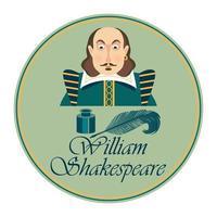 Kartenporträt von William Shakepeare mit Tintenfass und Federstift. Vektorillustration. vektor