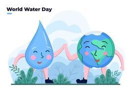 Feiern Sie die flache Illustration des Weltwassertages mit der niedlichen Erd- und Wassertropfen-Zeichentrickfigur. Glücklicher Wassertag. kann für Banner, Poster, Grußkarte, Postkarte, Website, Animation, Flyer verwendet werden. vektor