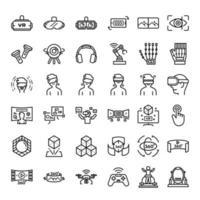 virtuell verklighetsrelaterad ikonuppsättning, ar och vr-relaterad ikon, virtualiseringsteknikikon.