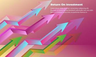 Geschäftspfeil Zielrichtungskonzept zum Erfolg. Return on Investment Roi. anwendbar für Werbung, Titelplakat, Infografik, Landing Page, UI, UX, Persentation, Baner, Social Media gepostet vektor