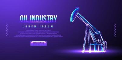 Bohrinsel, Ölindustrie. abstraktes Low-Poly-Drahtmodell. Vektorillustration vektor