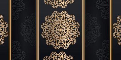 lyxig dekorativ mandala designbakgrund i guldfärg, vektorillustration vektor