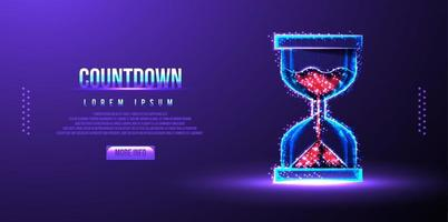Countdown Sandglas Low Poly Drahtgitter Vektor-Illustration