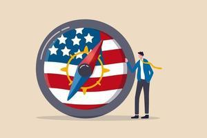Geschäftsmannführer stehen mit Kompass mit USA-Nationalflagge vektor